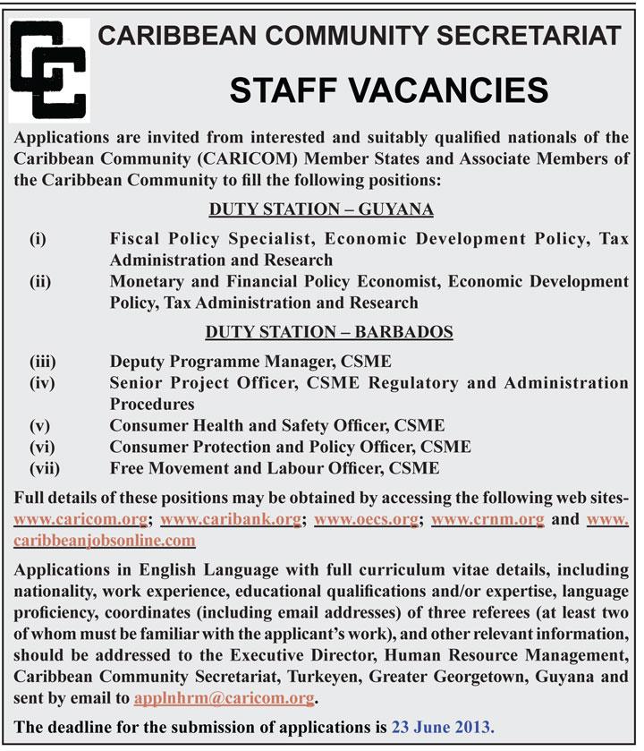 Caribbean Community Secretariat- Staff Vacancy | The