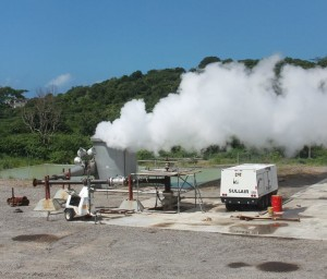 Steam flowing from Well #1 (photo:courtesy -  Lana MacDonald)
