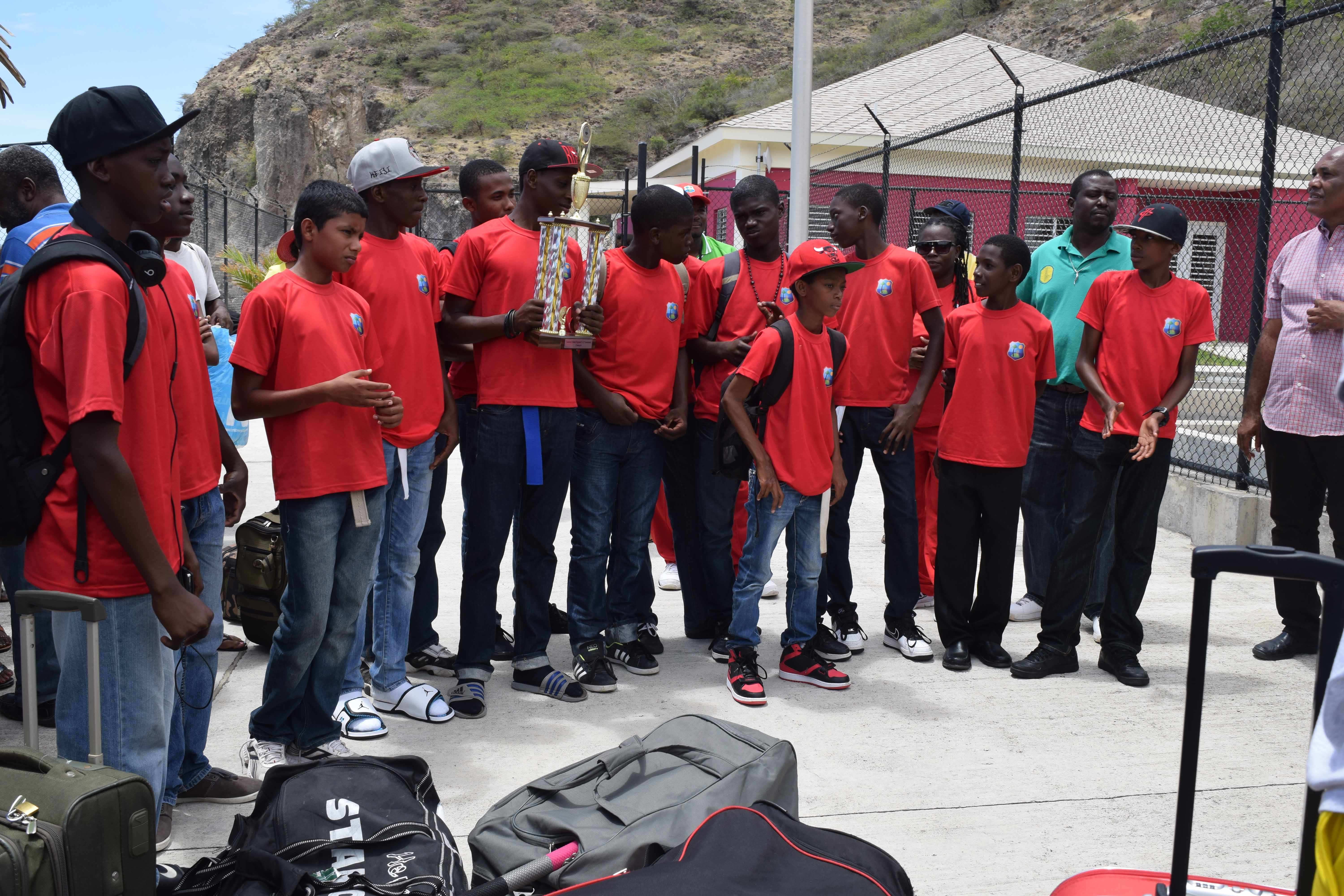 L I Champions, Under-15 Cricket team return to Montserrat