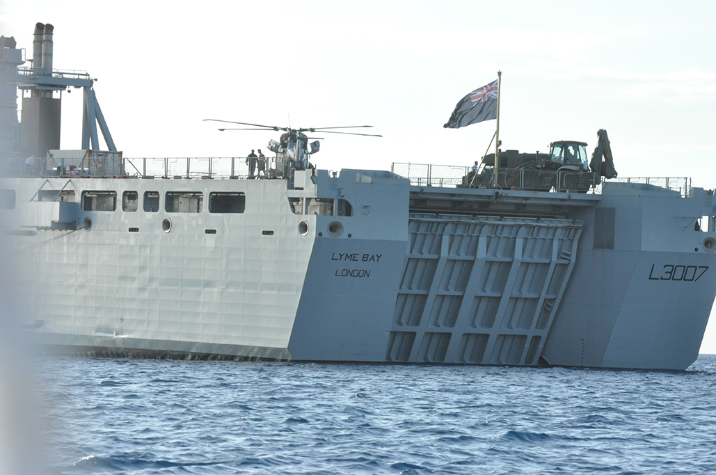 Helicopter on RFA Lyme Bay