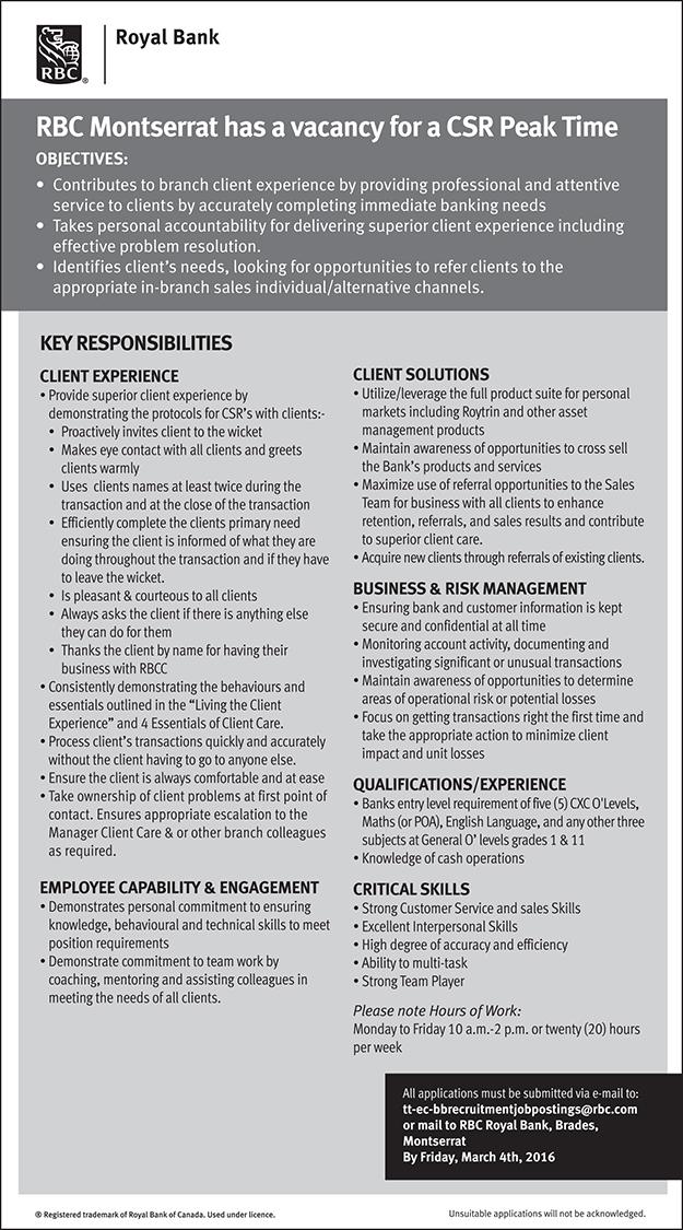Job Vacancy – RBC Montserrat has a vacancy for a CSR Peak
