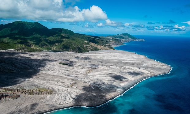 View of a pyroclastic flow in the exclusion zone of the British Overseas Territory of Montserrat in 2013 Photograph Sebastian Widmann-dpa-Corbis