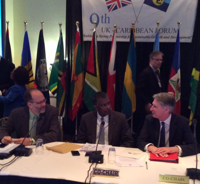 (From left: CARICOM Secretary-General Ambassador Irwin LaRocque; Hon. Fred Mitchell, Minister of Foreign Affairs of The Bahamas; Rt. Hon. Phillip Hammond, Foreign Secretary of the UK, prior to the start of the meeting on Saturday in Freeport, Bahamas.